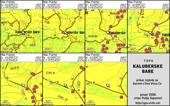 Приказ изгледа карте на Гармин eTrex Vista C