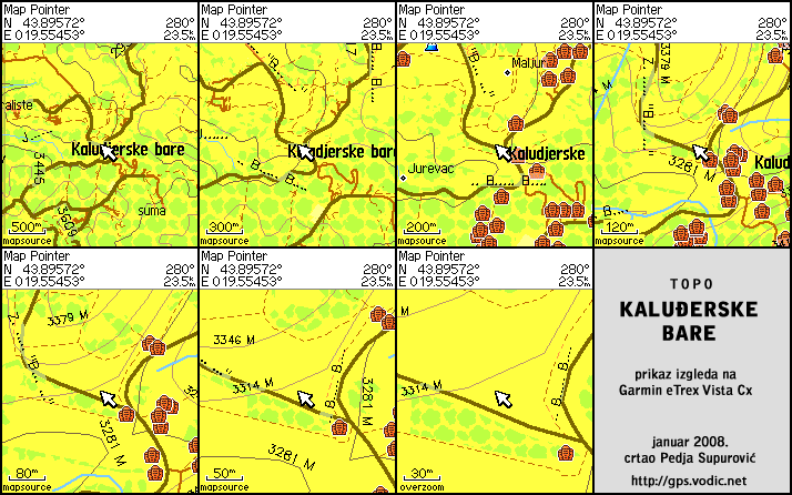 Prikaz izgleda karte na Garmin eTrex Vista C