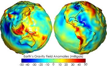 Изглед гравитационог геоида Земље (НАСА)