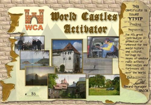 YT9TP WCAA World Castles Activator Award 2014