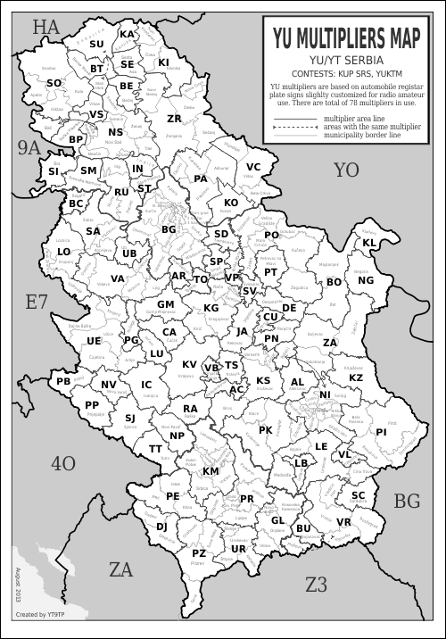 yu ham radio multipliers map