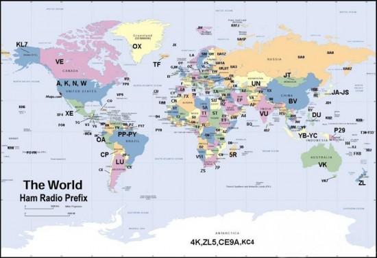 Радио-аматерска мапа света