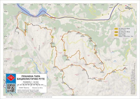 Мапа бициклистичких рута на планини Тари