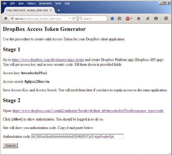 DropBox Access Token Generator - Stage 2