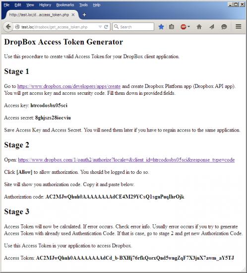 DropBox Access Token Generator - Stage 3
